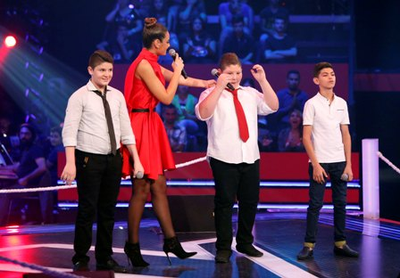 MBC1 & MBC MASR- the Voice Kids- Battle 1- Nancy's team- Results moment Alaa Nasser vs Zein Obeid vs Ayman Amin (1)