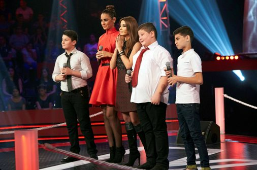 MBC1 & MBC MASR- the Voice Kids- Battle 1- Nancy's team- Results moment Alaa Nasser vs Zein Obeid vs Ayman Amin (3)